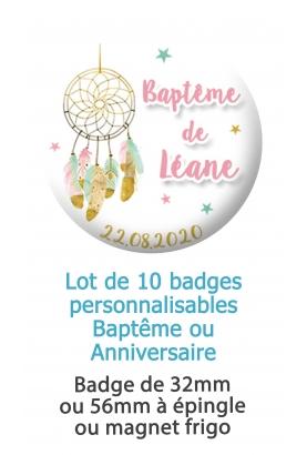 10 badges personnalisés baptême ou anniversaire attrape rêve
