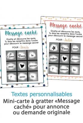 """Mini-carte à gratter """"Message caché"""" pour annonce ou demande originale"""