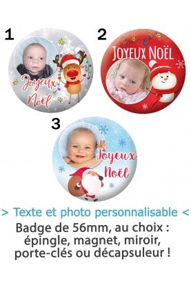 Badge 56mm Noël avec photo à personnaliser