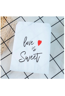 "Un sachet kraft blanc ""love is sweet"""