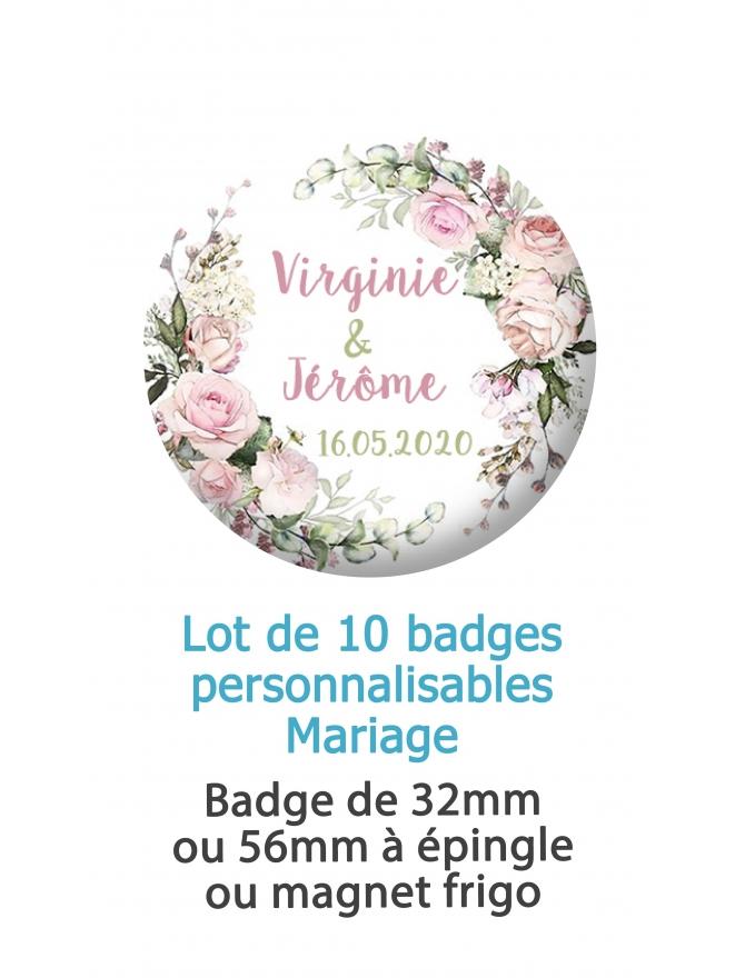 badges personnalisés mariage fleur champêtre