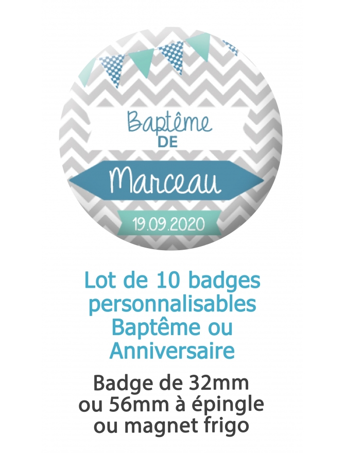 10 badges personnalisés baptême garçon