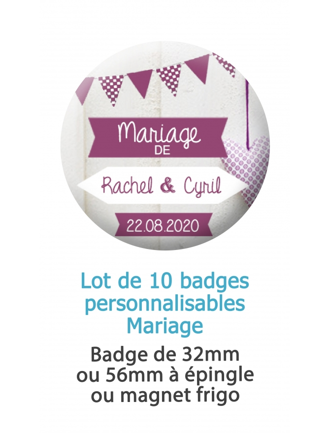 badge mariage. décoration mariage