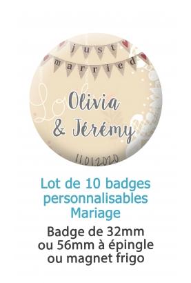 10 badges personnalisés mariage champêtre