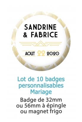 10 badges personnalisés mariage graphique doré
