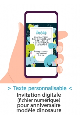 Carte d'invitation anniversaire digitale - dinosaure
