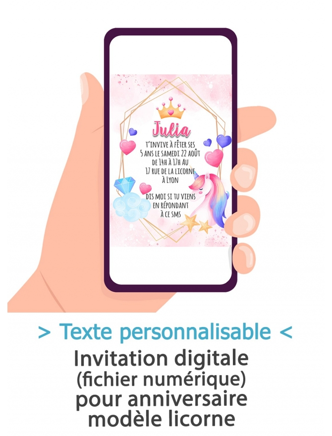 Carte d'invitation anniversaire digitale - licorne
