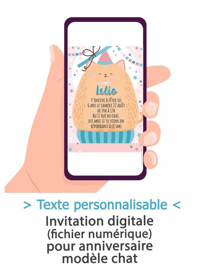 Carte d'invitation anniversaire digitale - chat