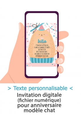 Carte d'invitation anniversaire digitale - chat