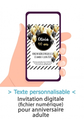 Carte d'invitation anniversaire digitale - adulte ballon