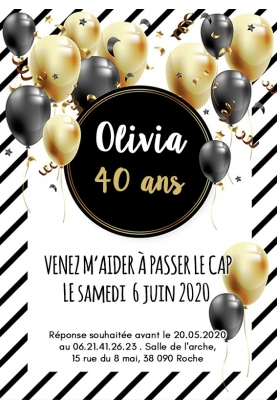 invitation anniversaire digitale ballon