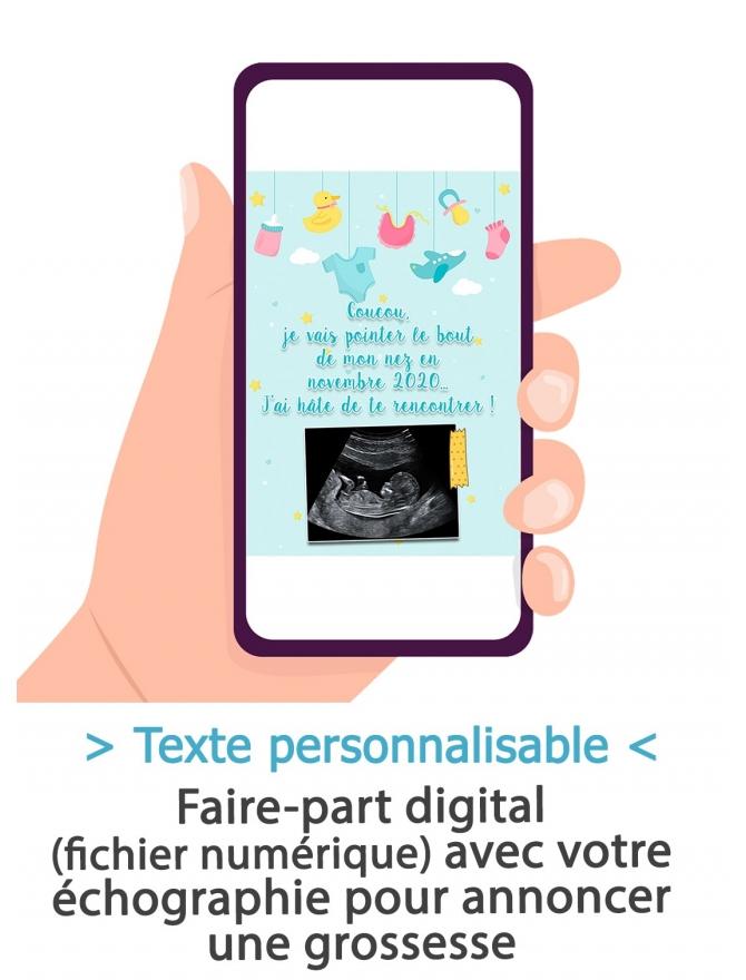 Annonce grossesse digitale - bleu
