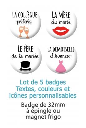 5 badges personnalisés mariage