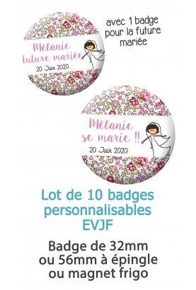 "10 badges personnalisés ""EVJF"" liberty"