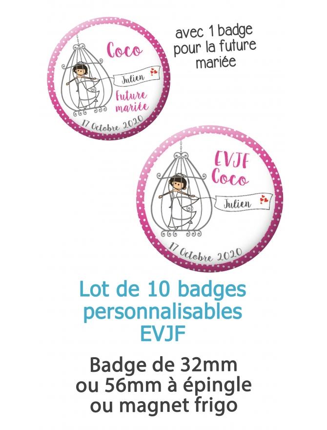 """10 badges personnalisés """"EVJF"""" mariée cage"""