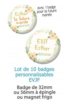 """10 badges personnalisés """"EVJF"""" fleur"""
