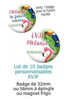 """10 badges personnalisés """"EVJF"""" tropical"""