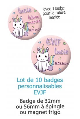 """10 badges personnalisés """"EVJF"""" licorne"""