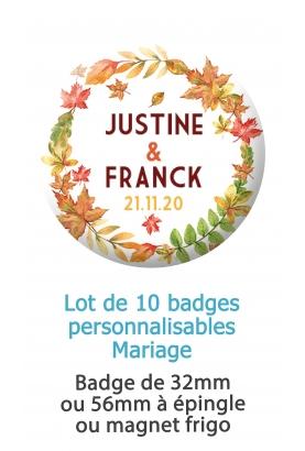 badges personnalisés mariage automne