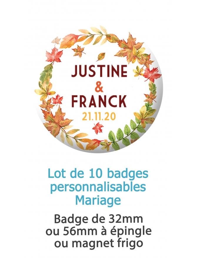 10 badges personnalisés mariage automne