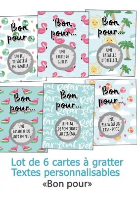 """6 cartes à gratter """"Bon pour"""" pour les enfants"""