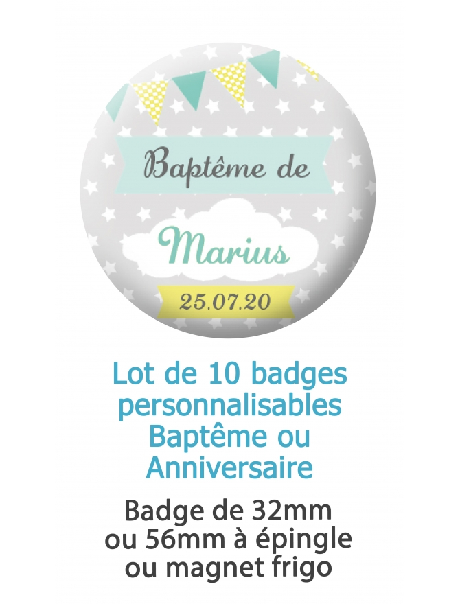 10 badges personnalisés baptême ou anniversaire nuage