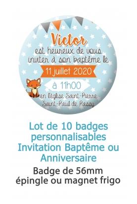 10 badges invitation baptême ou anniversaire renard
