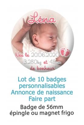 10 badges naissance rose petit pied
