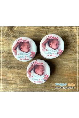 badges naissance rose
