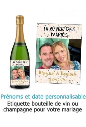 Etiquette bouteille de vin ou champagne pour votre mariage - photo