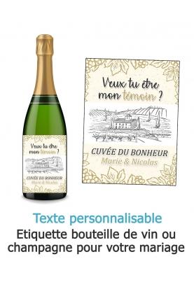 Etiquette bouteille de vin ou champagne pour votre mariage - cuvée du bonheur