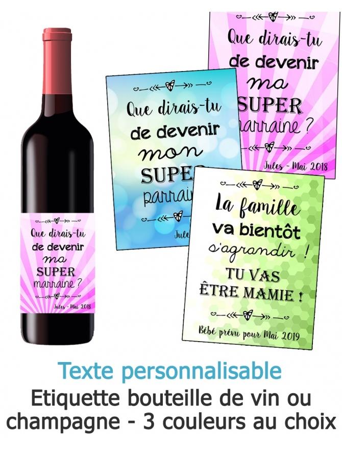 Etiquette bouteille de vin ou champagne pour annonce ou demande originale