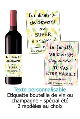 Etiquette bouteille de vin ou champagne pour annonce ou demande originale - été