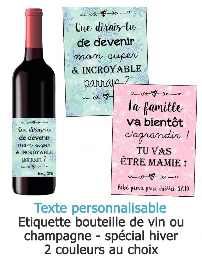 Etiquette bouteille de vin ou champagne pour annonce ou demande originale - hiver
