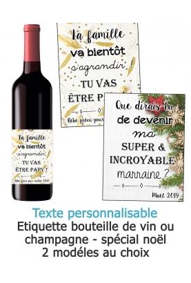 Etiquette bouteille de vin ou champagne pour annonce ou demande originale - noël