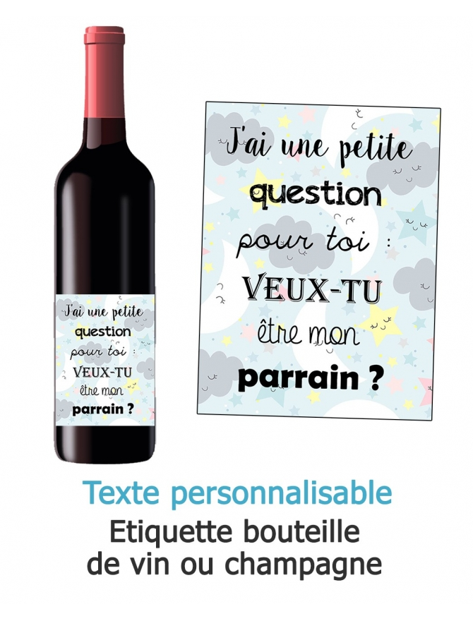 Etiquette bouteille de vin ou champagne pour annonce ou demande originale - nuage