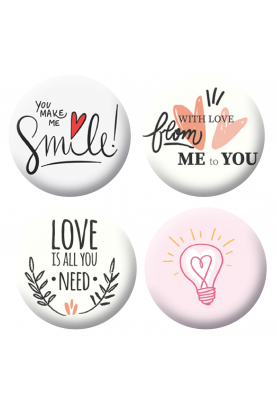 Badges love & smile scrapbooking