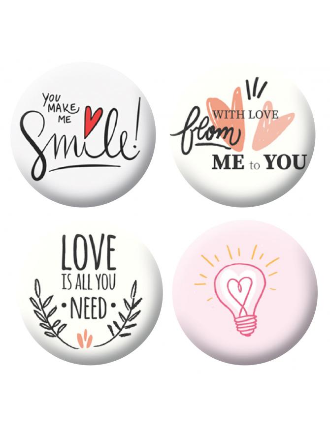 Badges love & smile scrapbooking