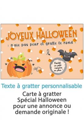 "Carte à gratter ""Joyeux Halloween"" à personnaliser. carte Halloween. carte gratter Halloween"