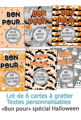"""6 cartes à gratter """"Bon pour"""" spécial Halloween"""