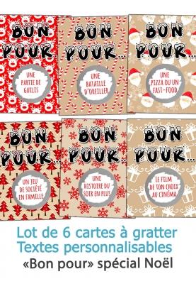 """6 cartes à gratter """"Bon pour"""" spécial Noël"""
