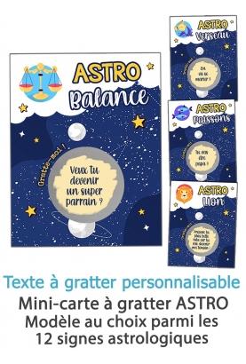 Mini-carte à gratter ASTRO pour annonce ou demande originale