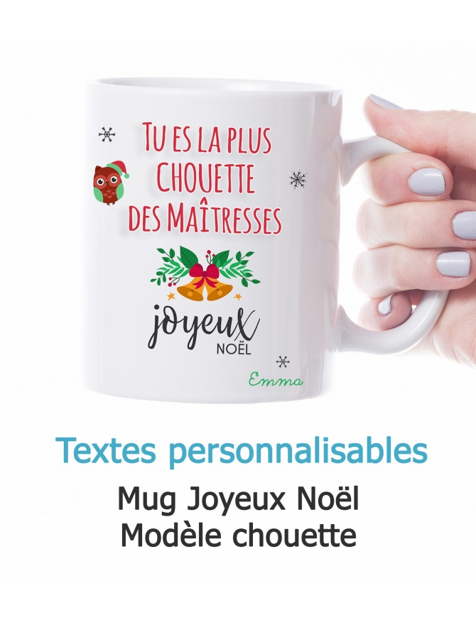 Mug Joyeux Noël personnalisable - Chouette