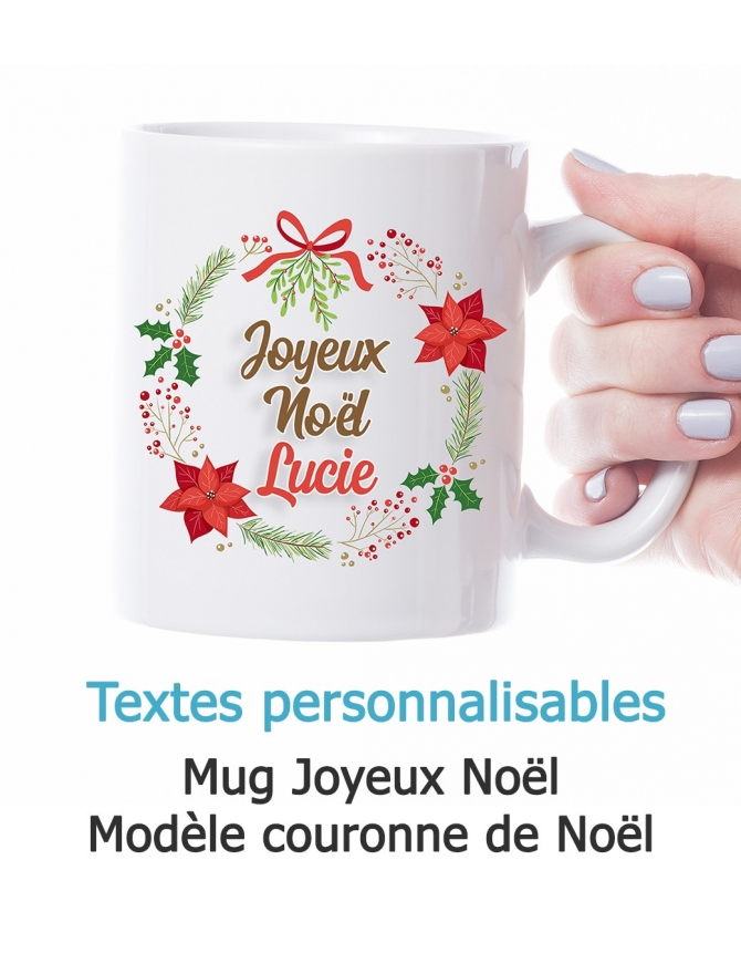 Mug Joyeux Noël personnalisable - Couronne de Noël