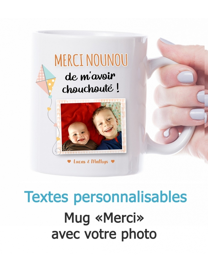 "Mug photo ""Merci"" - personnalisable"