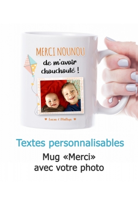 "Mug photo ""Merci"" - personnalisable"