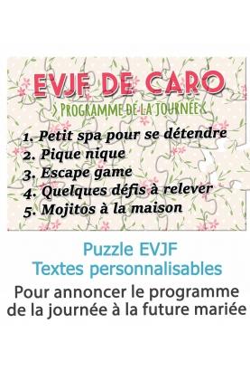 Puzzle EVJF pour annoncer le programme de la journée à la future mariée