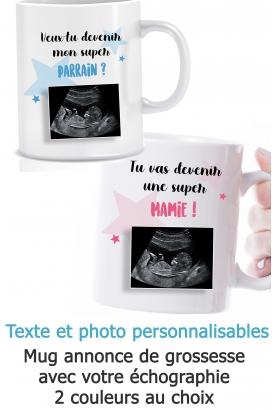 Mug annonce de grossesse avec votre échographie - personnalisable. annonce grossesse originale. mug parrain marraine