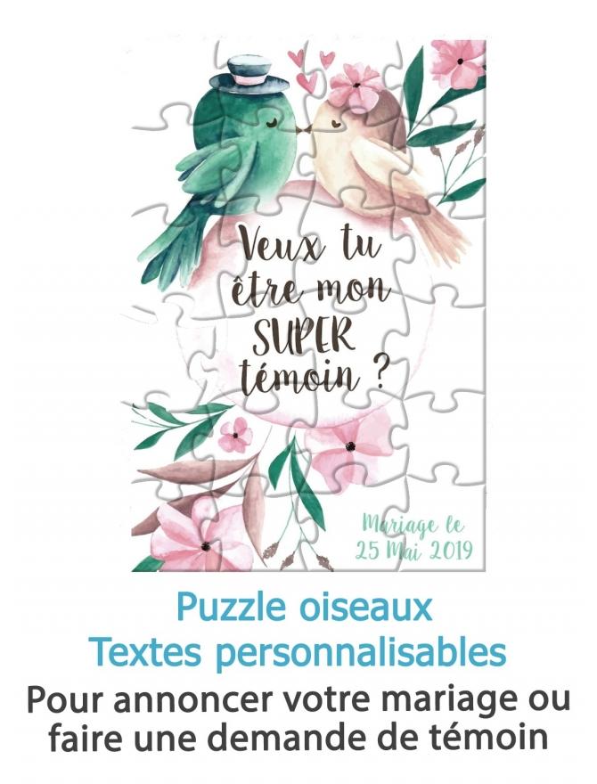 Puzzle oiseaux avec texte personnalisable