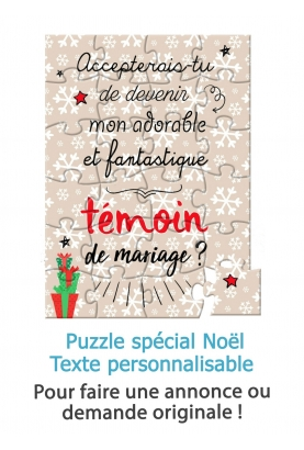 Puzzle flocon spécial noël avec texte personnalisable
